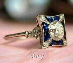 Vintage Art Nouveau Engagement Antique Ring 14K White Gold Over 2.99 Ct Diamond
