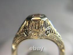 Vintage ArtDeco 18k White Gold Round Old European Diamond Sapphire Filigree Ring