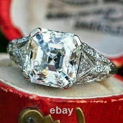 Vintage Asscher 3.50Ct Diamond Antique Engagement Ring Band Solid 14k White Gold