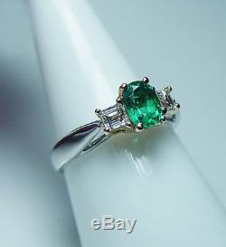 Vintage Colombian Emerald Asscher Diamond 14K Gold Platinum 3 stone Ring Estate