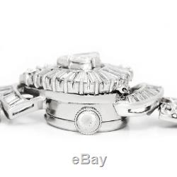 Vintage Cortina Diamond Flip Ladies Watch Bracelet Platinum 3.50ctw Manual Wind