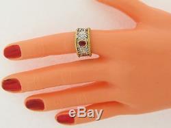 Vintage Designer 18k White Yellow 18k Gold Ruby Diamond Floral Filagree Ring