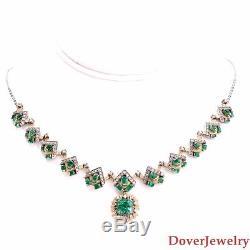 Vintage Diamond 10.17ct Emerald Platinum 18K Gold Necklace 28.8 Grams NR