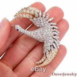 Vintage Diamond 8.27ct Ruby 18K Gold Goose Bird Brooch Pin 17.1 Grams NR
