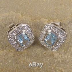 Vintage Early Edwardian Antique 3 Ct Diamond Aquamarine Stud Earring Circa 1837