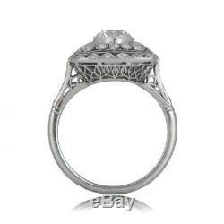Vintage Edwardian 1.3Ct Diamond Engagement Motif Floral Ring 14K White Gold Over