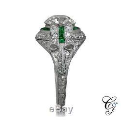 Vintage Edwardian Antique 2.2 Ct Diamond Engagement Motif Filigree Ring Era 1930