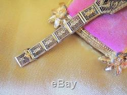 Vintage Edwardian Art Deco 14k Filigree Diamond & Sapphire Braceletstunning