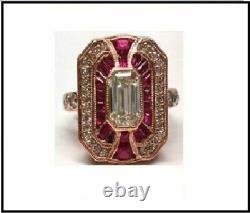 Vintage Emerald Cut 2.55 ct White Diamond Ruby Antique Engagement Wedding Ring