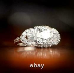 Vintage Engagement Ring 2.65Ct Round Cut D/VVS1 Diamond in Solid 14k White Gold