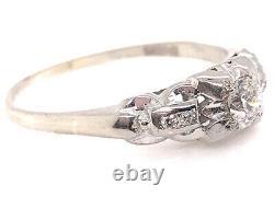 Vintage Engagement Ring Old European Cut Diamond. 25ct 18K Art Deco Antique