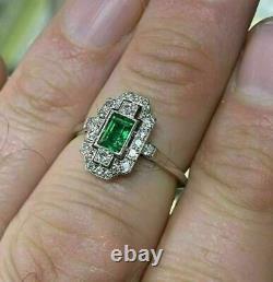 Vintage Engagement Wedding Antique Art Deco Ring 925 Sterling Silver 2Ct Emerald