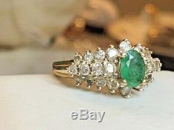 Vintage Estate 10k Gold Emerald Diamond Ring Designer Signed Lgl Vip Engagement