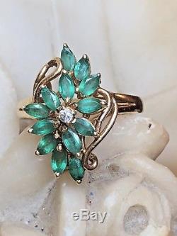 Vintage Estate 14k Gold 12 Genuine Green Marquise Emerald & Diamond Ring Flower