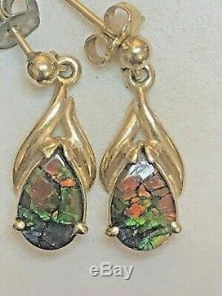 Vintage Estate 14k Gold Ammolite Earrings Drop Dangle Rare Fossilized Gemstone