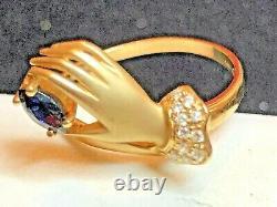 Vintage Estate 14k Gold Blue Sapphire Diamond Ring Designer Signed Cei Gemstone