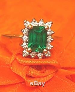 Vintage Estate 14k Gold Emerald Genuine Natural 14 Diamonds Ring Signed Zm