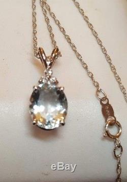 Vintage Estate 14k Gold Genuine Aquamarine & Diamond Necklace Chain 18' 14k
