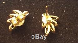 Vintage Estate 14k Gold Genuine Blue Sapphire & Diamond Earrings Made In Italy