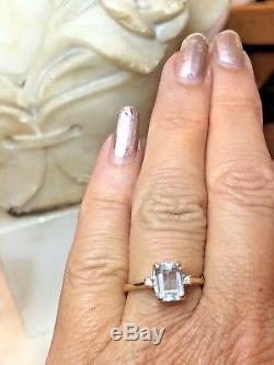 Vintage Estate 14k Gold Genuine Natural Aqua Marine Diamond Ring Emerald Cut