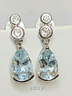 Vintage Estate 14k Gold Genuine Natural Aquamarine Diamond Earrings Gemstone