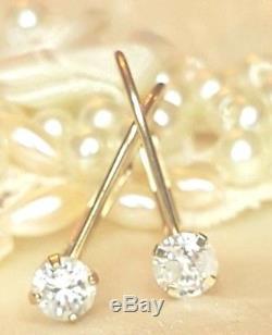 Vintage Estate 14k Gold Genuine Natural Diamond Earrings Designer Signed Ed