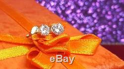 Vintage Estate 14k Gold Genuine Natural Diamond Earrings Round Studs Italy 585