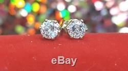 Vintage Estate 14k Gold Genuine Natural Diamond Solitaire Stud Earrings