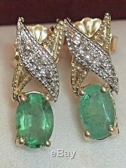 Vintage Estate 14k Gold Green Natural Genuine Emerald Diamond Earrings Love X