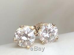 Vintage Estate 14k Gold Natural Diamond Earrings Solitaires Designer Signed Pi