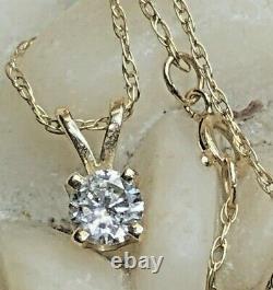 Vintage Estate 14k Gold Natural Diamond Necklace Pendant Solitaire