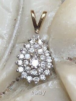 Vintage Estate 14k Gold Natural Diamond Pendant Art Deco