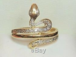 Vintage Estate 14k Gold Natural Diamond Snake Ring Pave' Diamonds Signed Gsd95