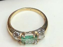 Vintage Estate 14k Gold Natural Green Garnet & Quartz Ring Signed F P Gemstone