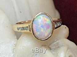 Vintage Estate 14k Gold Natural Opal & Diamond Ring Engagement Wedding
