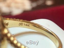 Vintage Estate 14k Gold Opal Diamond Ring Halo