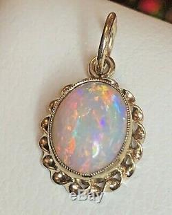 Vintage Estate 14k Gold Opal Natural Pendant Gemstone 2 Carat