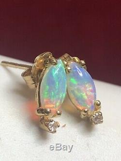 Vintage Estate 14k Gold Opal White Sapphire Accent Earrings Gemstones