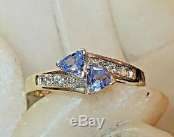 Vintage Estate 14k Gold Tanzanite Diamond Ring Trillion Cut Designer Signed Adl