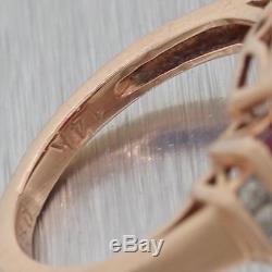 Vintage Estate 14k Rose Gold 1.30ctw Ruby Diamond Diamond Cocktail Ring Y8