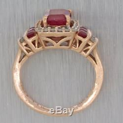 Vintage Estate 14k Rose Gold 1.30ctw Ruby Diamond Diamond Cocktail Ring Y8