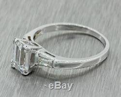 Vintage Estate 14k Solid White Gold. 91ctw Emerald Cut Baguette Diamond Ring IGI