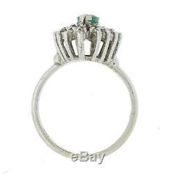 Vintage Estate 14k Solid White Gold Emerald Diamond Cluster Cocktail Ring