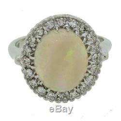 Vintage Estate 14k Solid White Gold Opal Halo Diamond Cluster Cocktail Ring