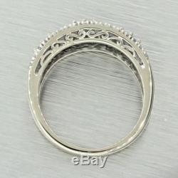 Vintage Estate 14k Solid White Gold Round Baguette Diamond Band Ring