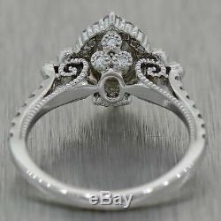 Vintage Estate 14k White Gold 1.00ctw Oval Diamond Halo Engagement Ring EGL