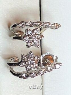 Vintage Estate 14k White Gold Diamond Earrings Stud Flower Wedding J-hook