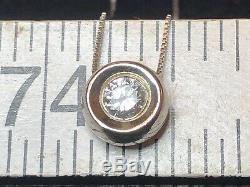 Vintage Estate 14k White Gold Diamond Necklace Pendant Solitaire Bezel Set