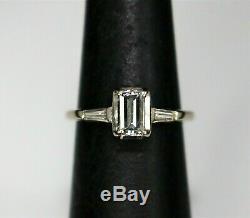 Vintage Estate 14k White Gold Emerald Cut Diamond Engagement Ring. 65CTW VVS2 F