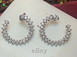 Vintage Estate 14k White Gold Natural Diamond Earrings Wedding Open Hoops